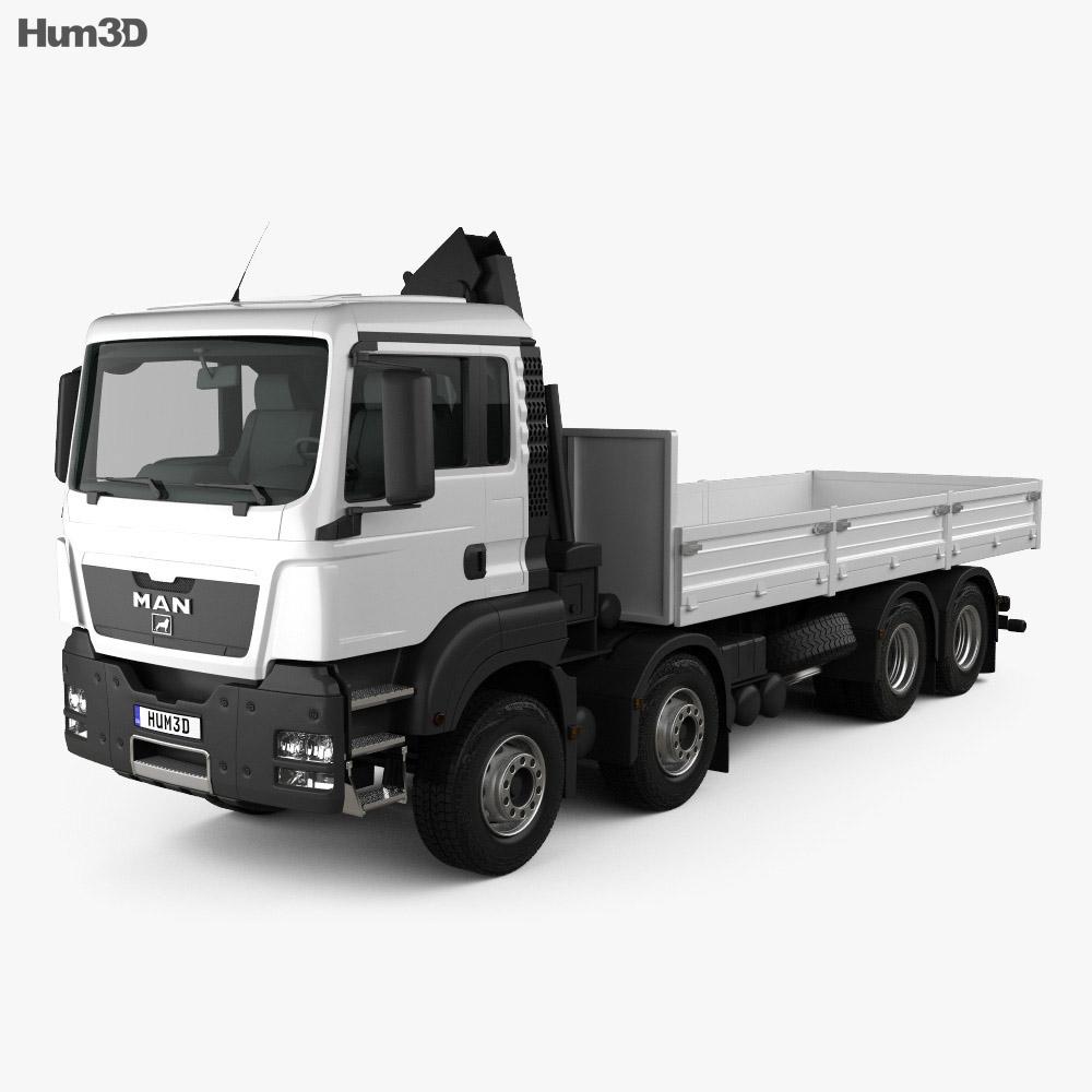 MAN TGS Flatbed Crane Truck 2012 3d model