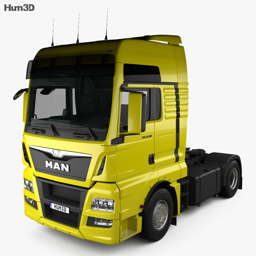 MAN TGX Tractor Truck 2-axle with HQ interior 2012 3d model