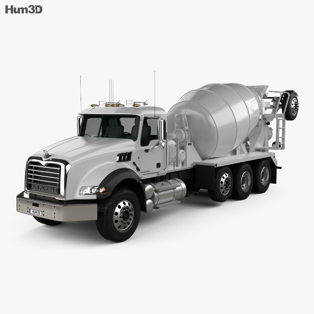 Mack Granite Mixer Truck 2002 3d model