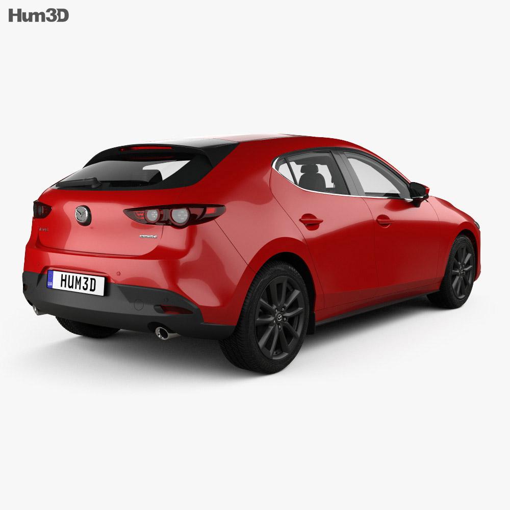 Mazda 3 hatchback with HQ interior and engine 2019 3d model