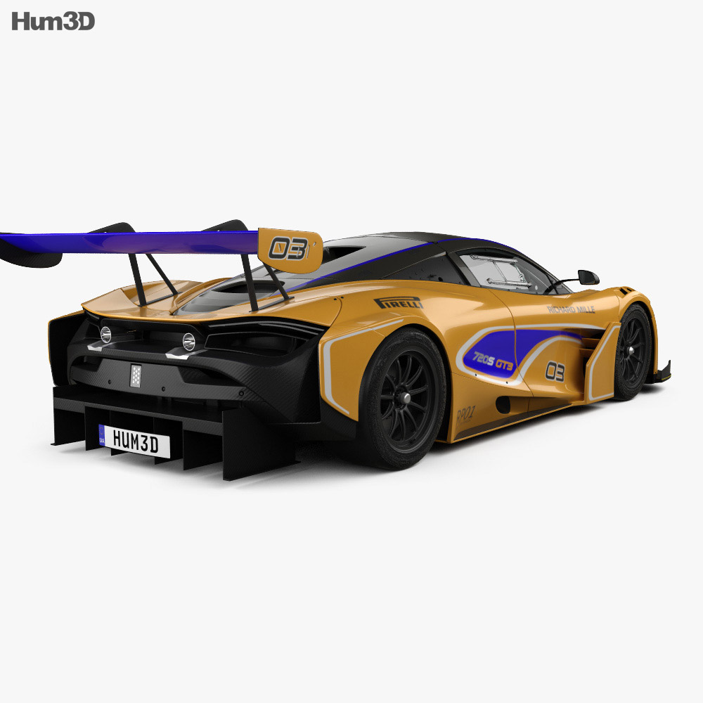 McLaren 720S GT3 with HQ interior 2019 3d model