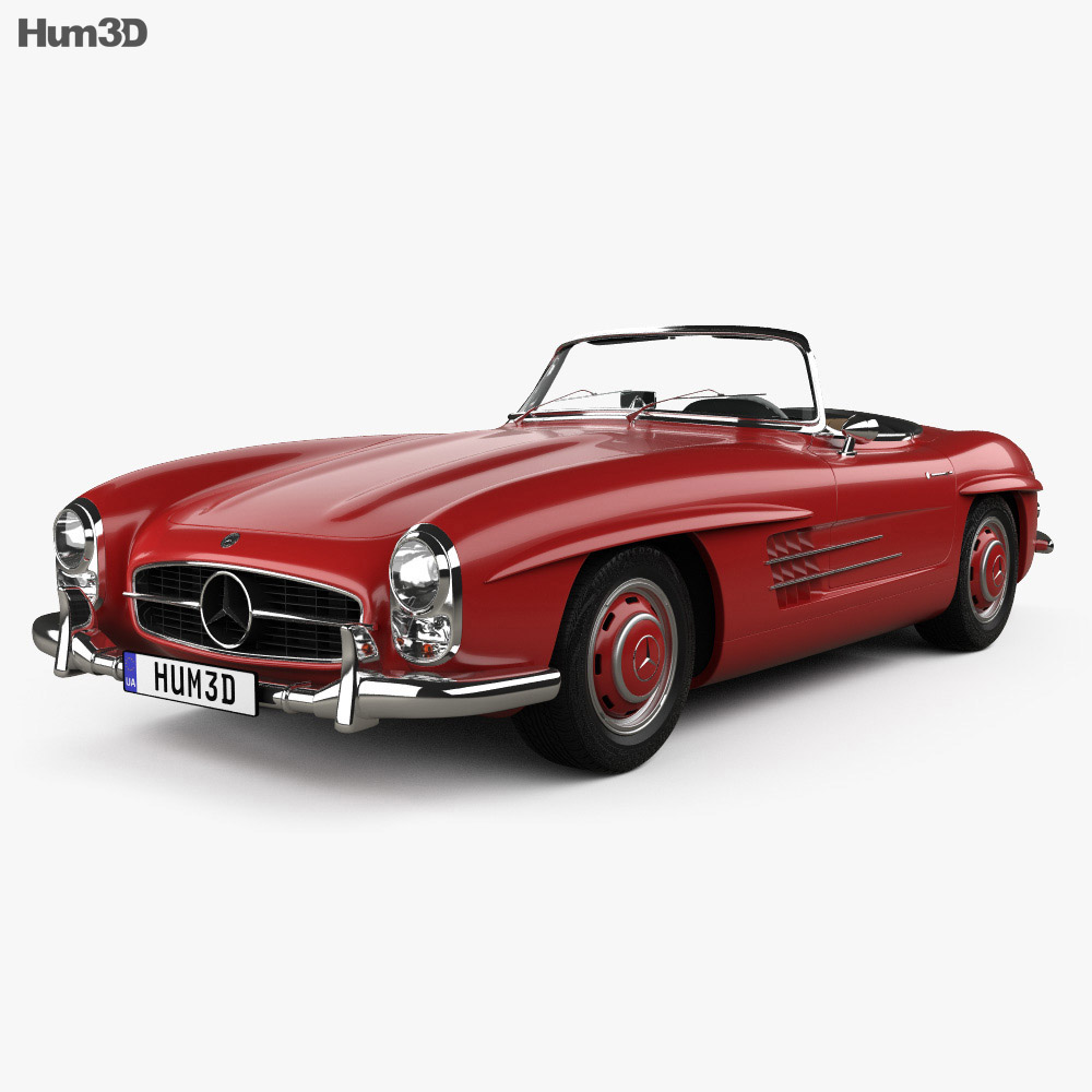 mercedes benz 300 sl with hq interior 1957 3d model. Black Bedroom Furniture Sets. Home Design Ideas
