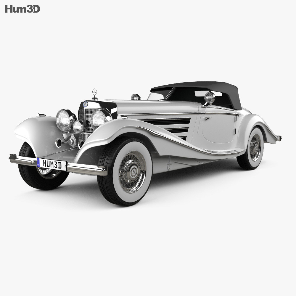 Mercedes Benz 500k Special Roadster 1936 3d Model