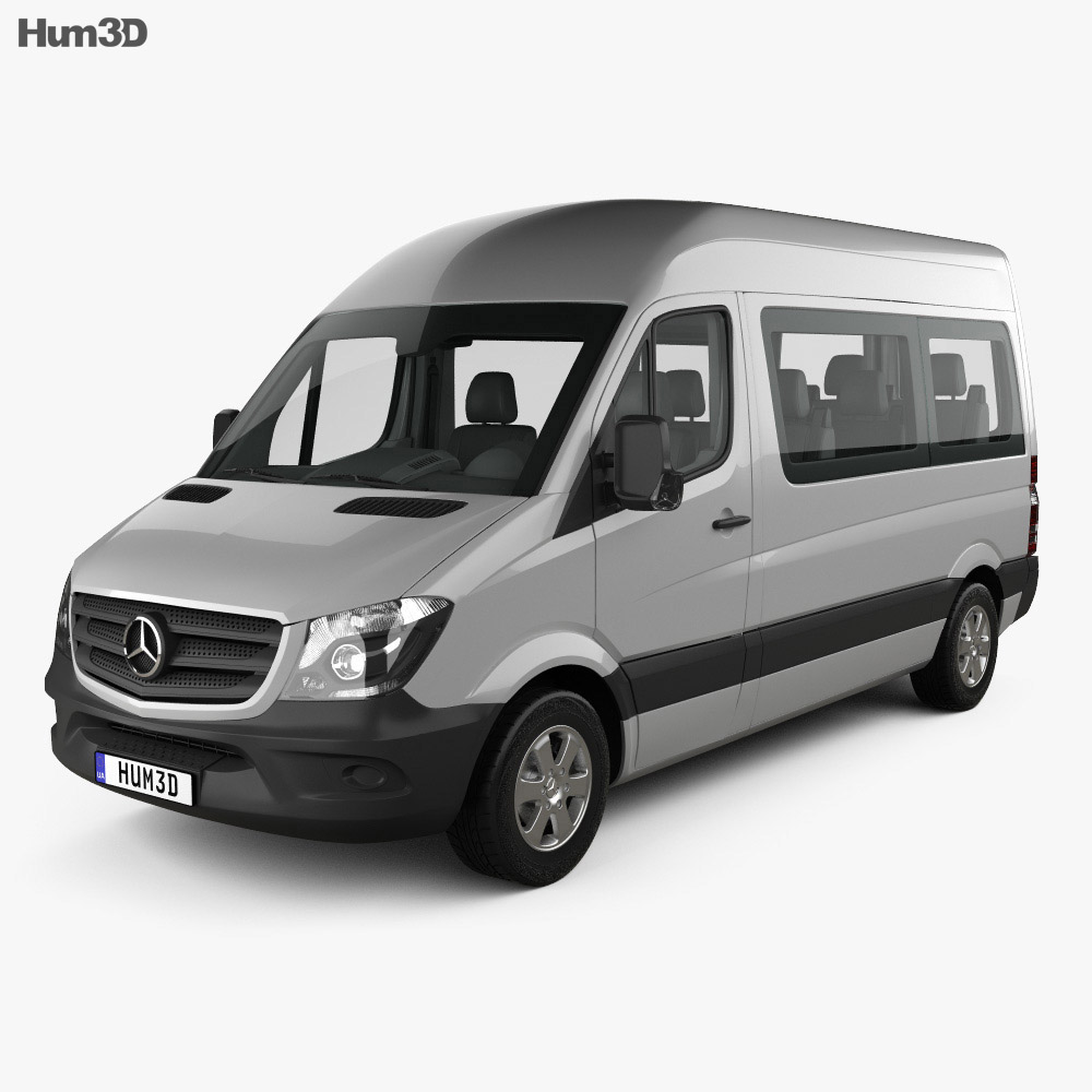 mercedes benz sprinter passenger van swb hr with hq interior 2013 3d model hum3d. Black Bedroom Furniture Sets. Home Design Ideas