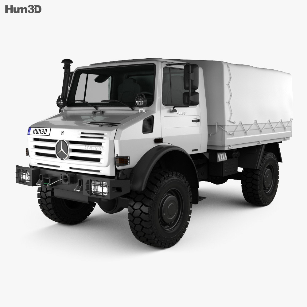 Mercedes benz unimog u4000 flatbed canopy truck 2000 3d for Mercedes benz truck parts