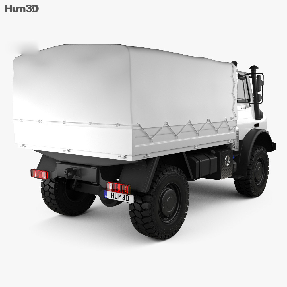 Mercedes-Benz Unimog U4000 Flatbed Canopy Truck 2000 3d model