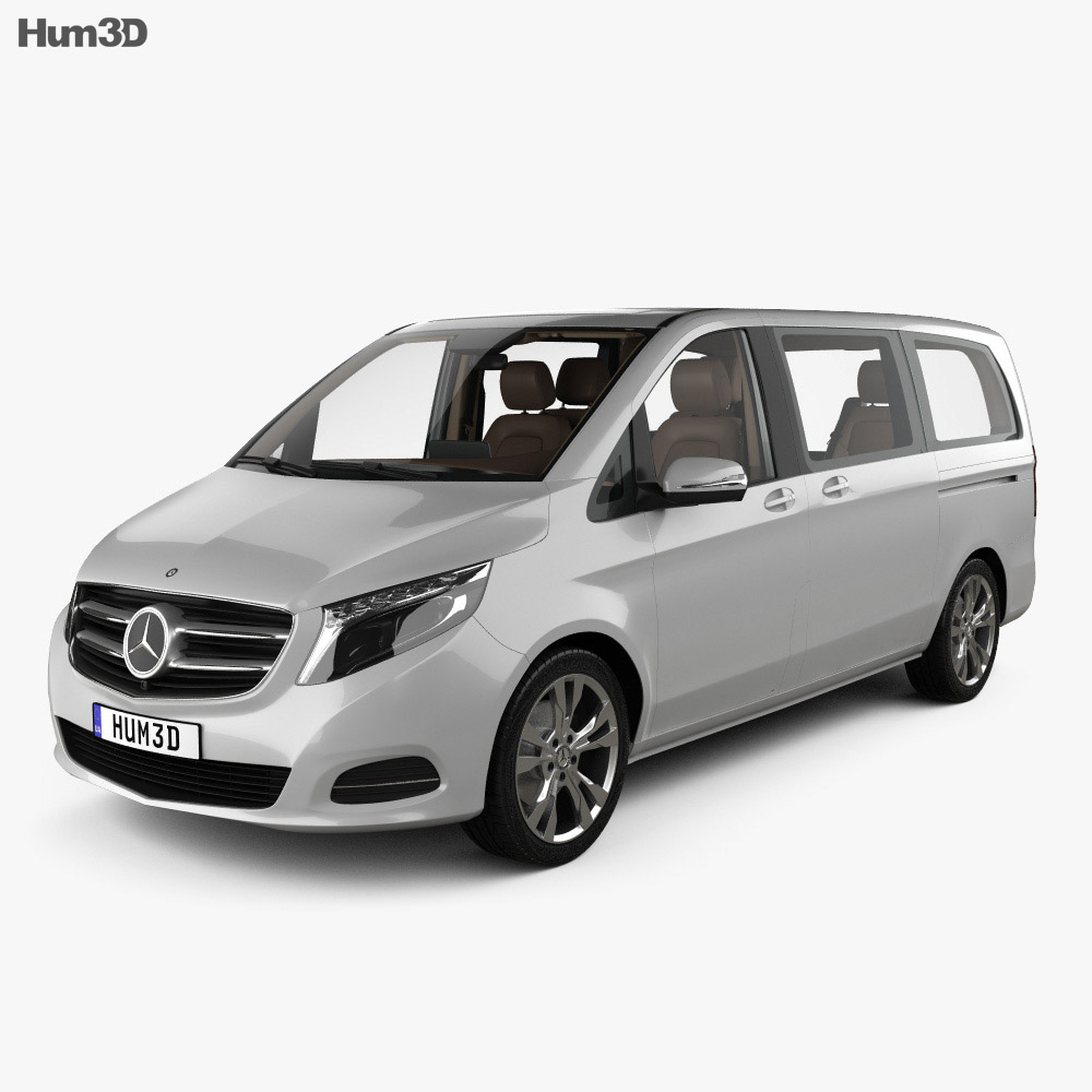 Mercedes benz v class with hq interior 2014 3d model hum3d for Mercedes benz inside view