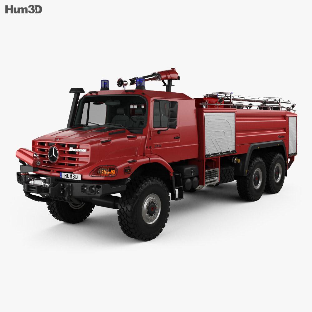 Mercedes-Benz Zetros Rosenbauer Fire Truck 2008 3D Model