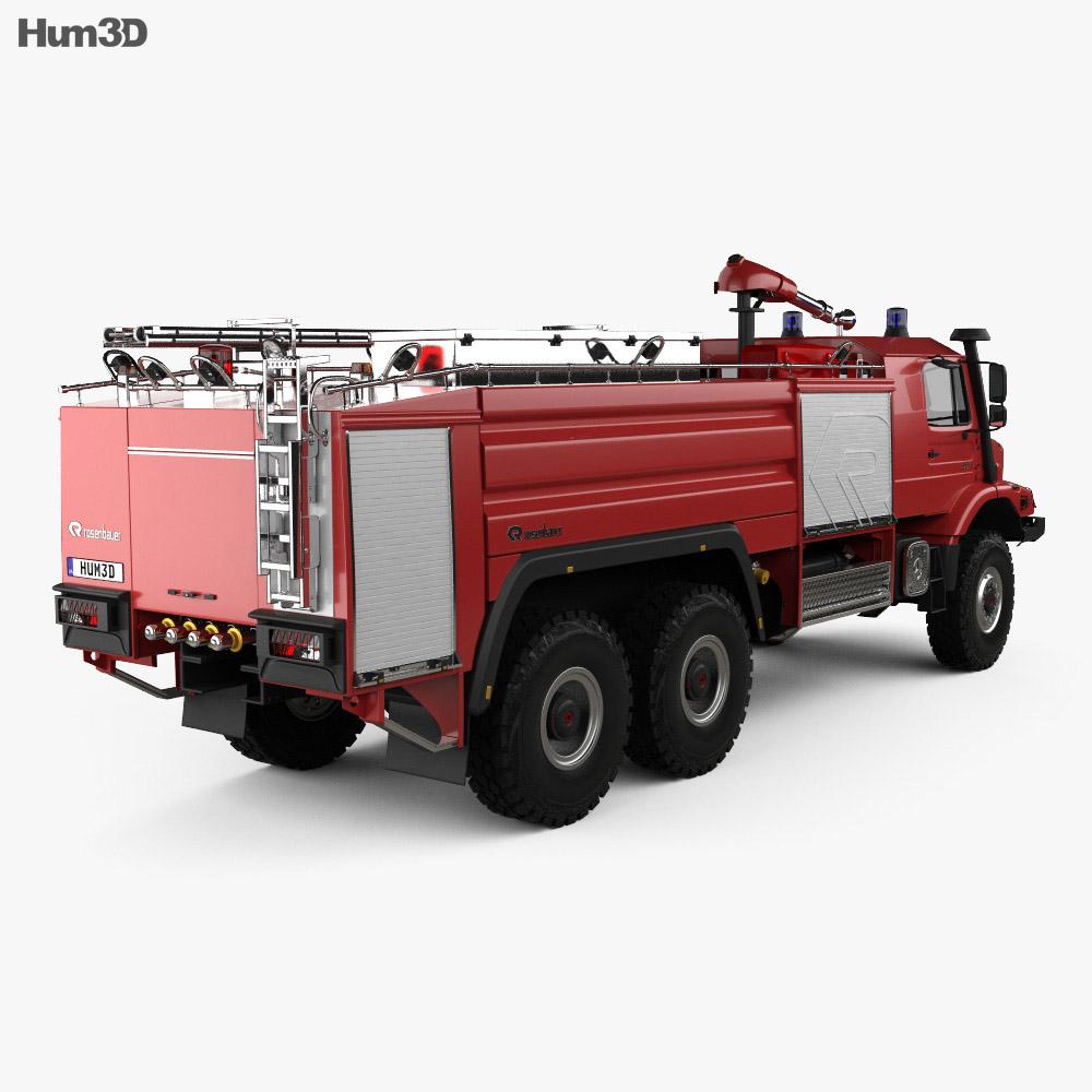 Mercedes-Benz Zetros Rosenbauer Fire Truck 2008 3d model back view