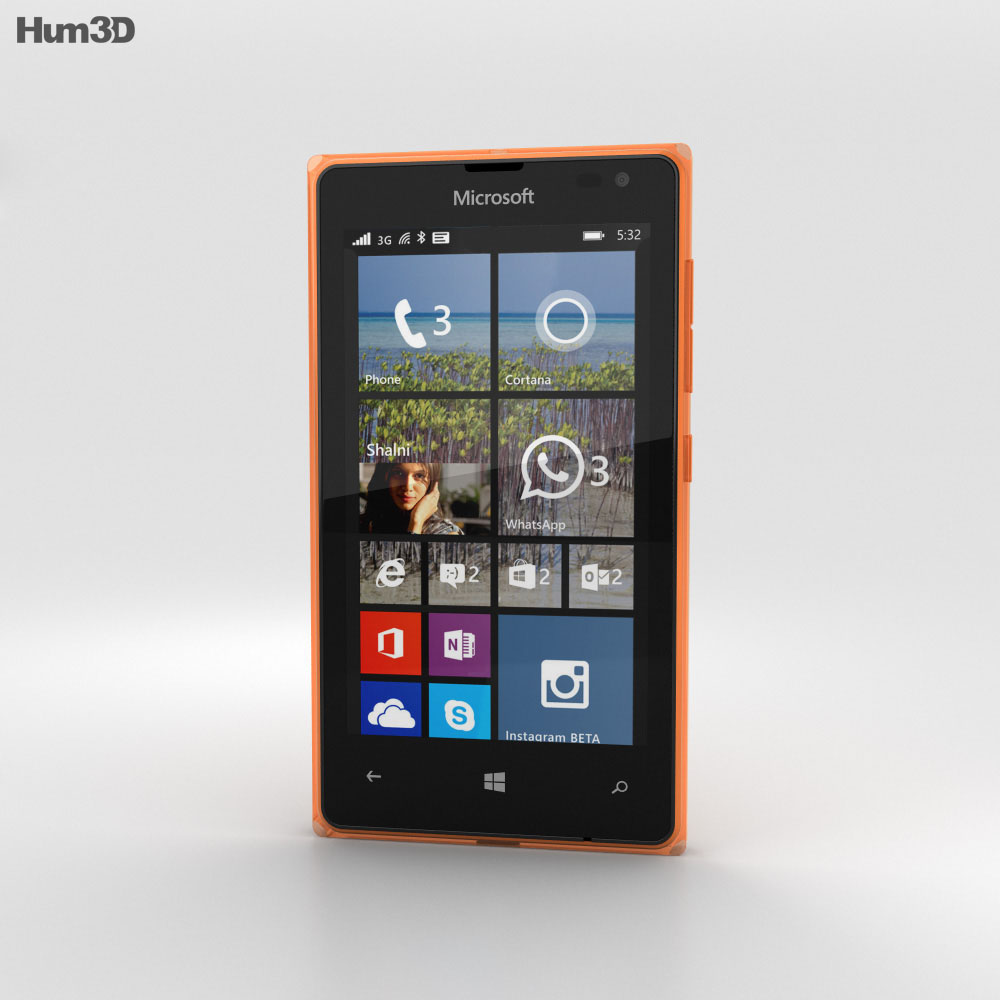 Microsoft Lumia 532 Orange 3d model