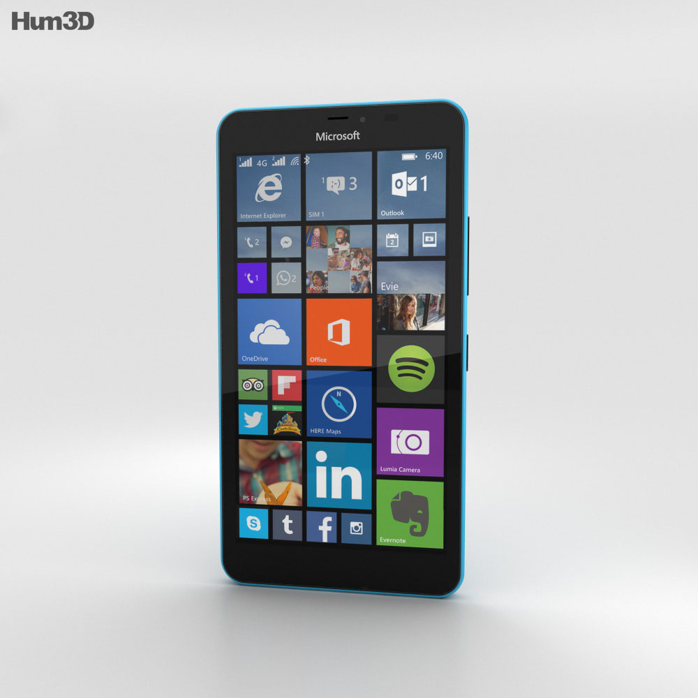 Microsoft Lumia 640 XL Matte Cyan 3d model