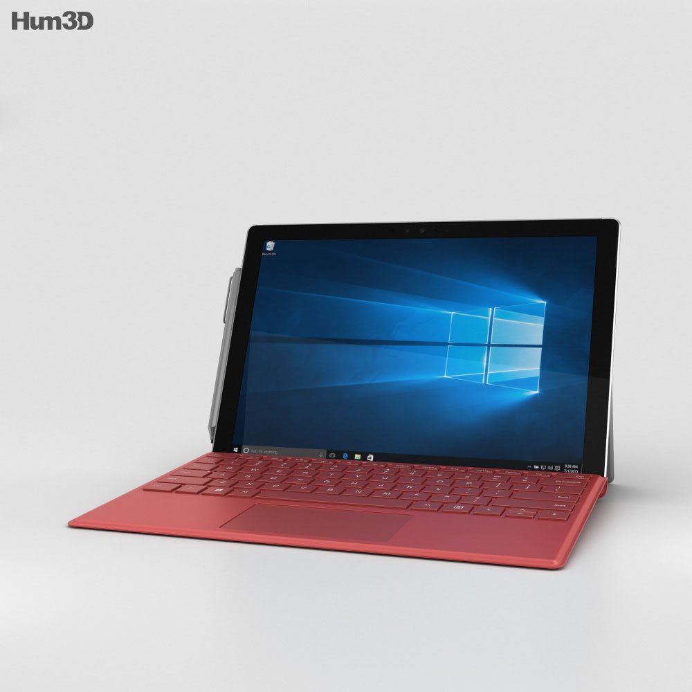 Microsoft Surface Pro 4 Red 3d model
