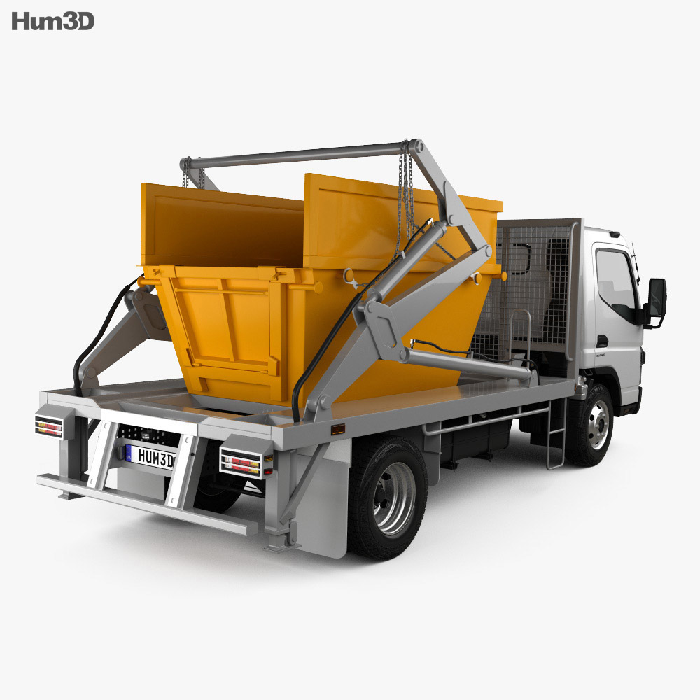 Mitsubishi Fuso Canter (918) Wide Single Cab Skip Bin Truck 2016 3d model