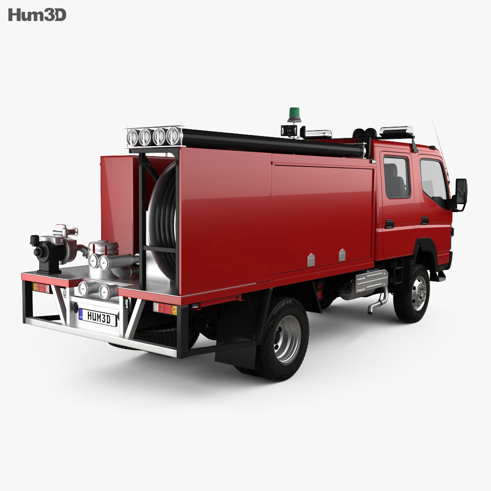 Mitsubishi Fuso Canter (FG) Wide Crew Cab Fire Truck 2016 3d model back view