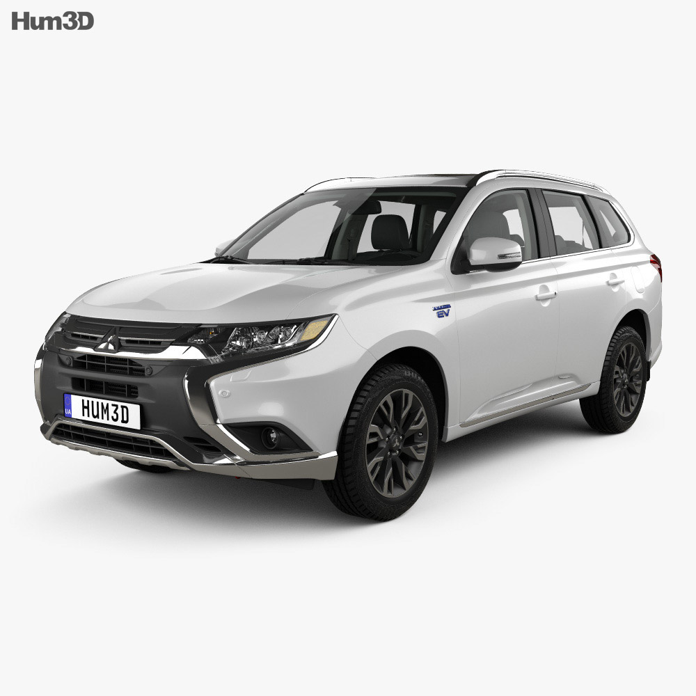 Mitsubishi Outlander PHEV with HQ interior 2015 3d model