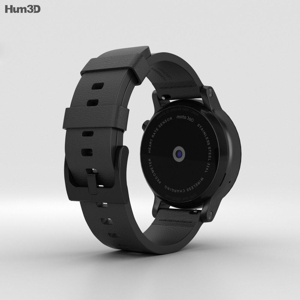 Motorola Moto 360 2nd Gen Men's 42mm Black Case Black Leather Band 3d model