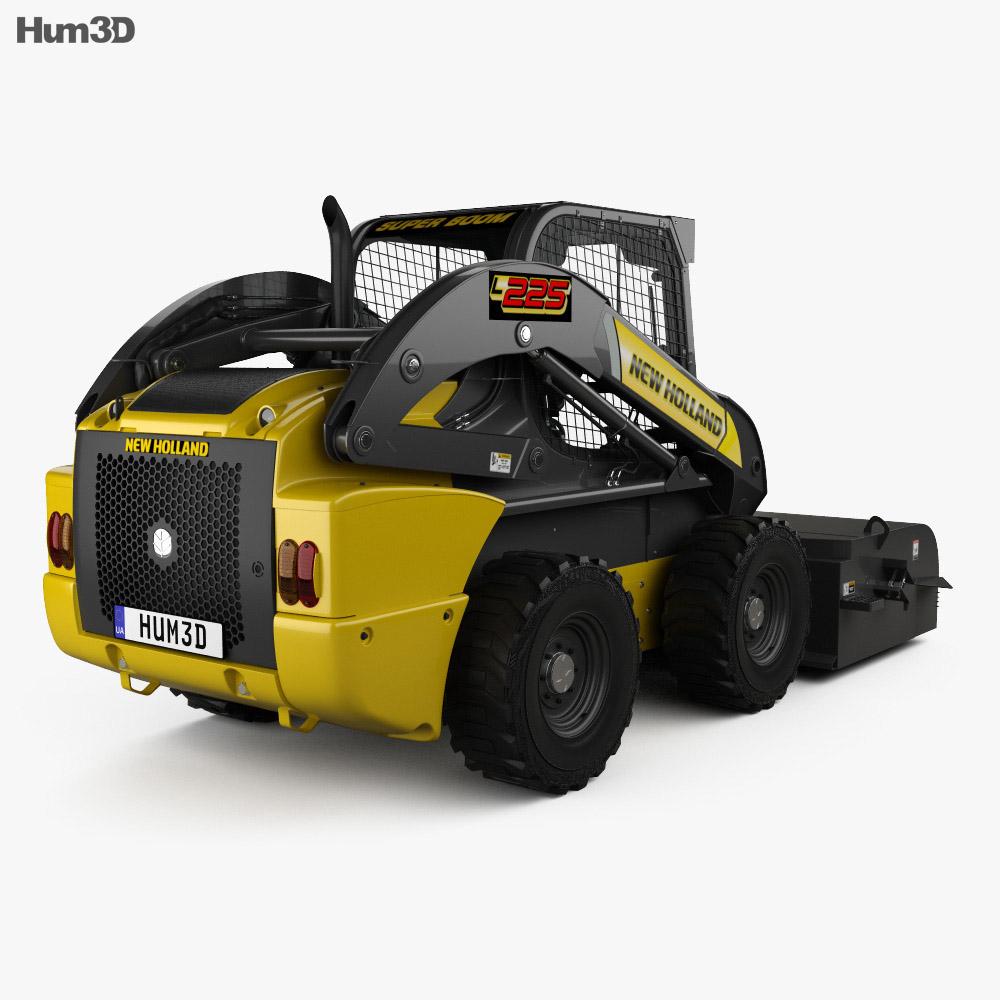 New Holland L225 Skid Steer Sweeper 2017 3d model