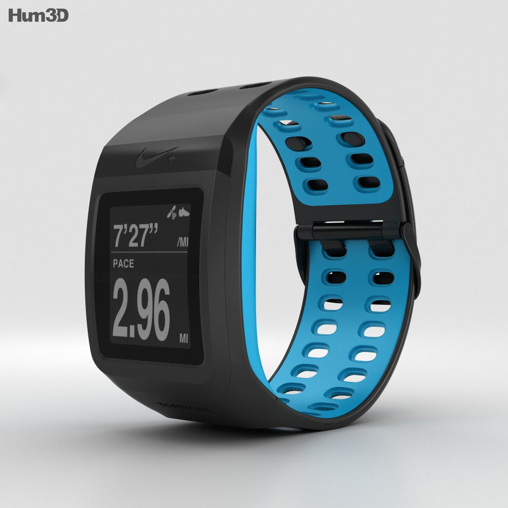 Nike+ SportWatch GPS Anthracite/Blue Glow 3d model