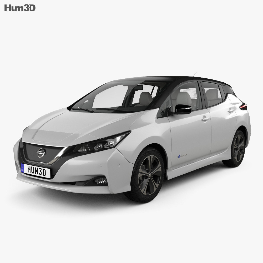 Nissan Leaf with HQ interior 2018 3d model