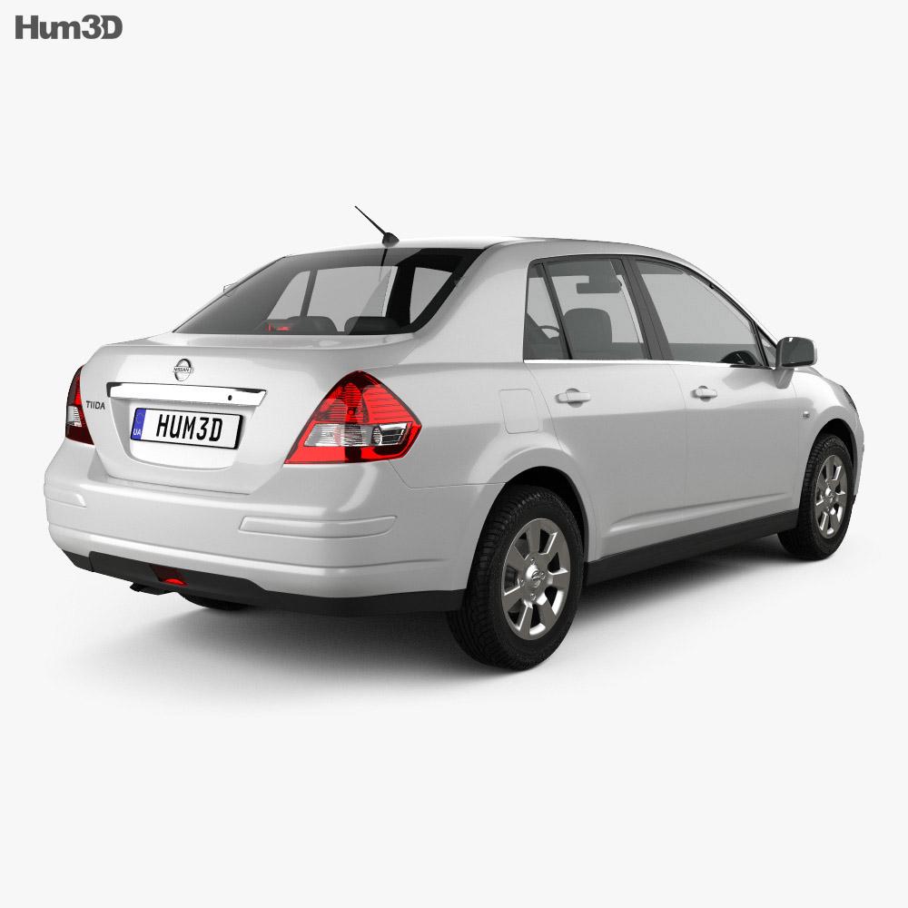 Nissan Tiida (C11) sedan 2012 3d model back view