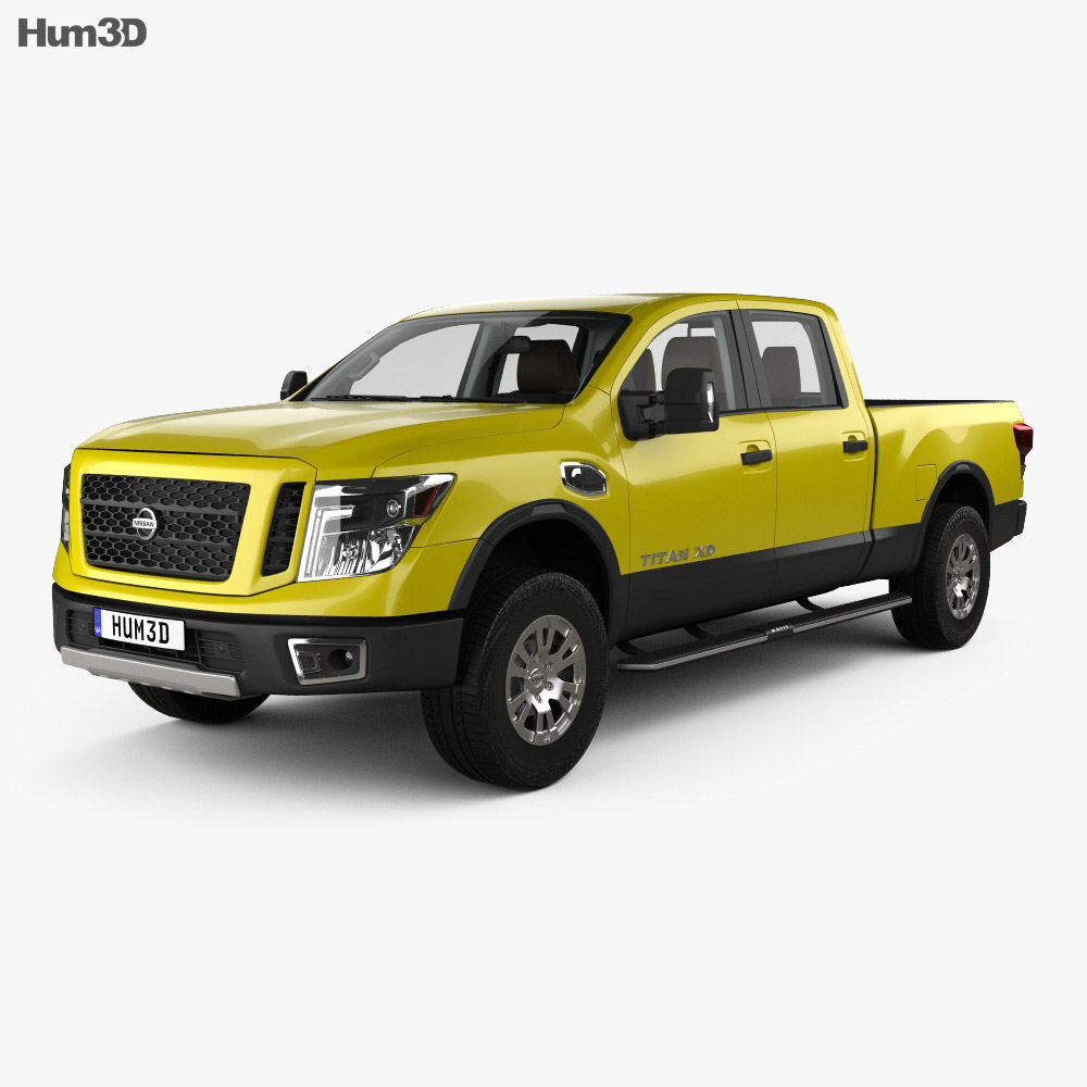Nissan Titan Crew Cab XD Pro 4X with HQ interior 2016 3d model