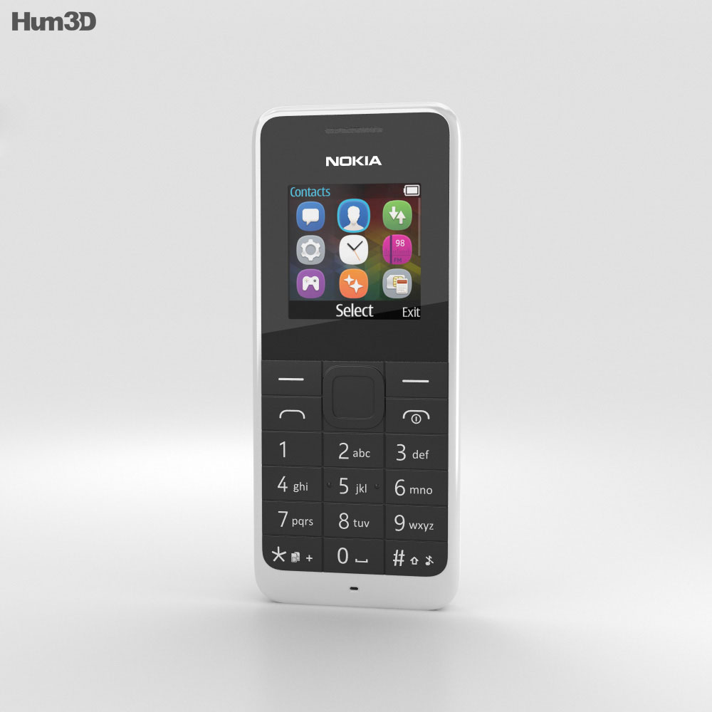 Nokia 105 Dual SIM White 3d model