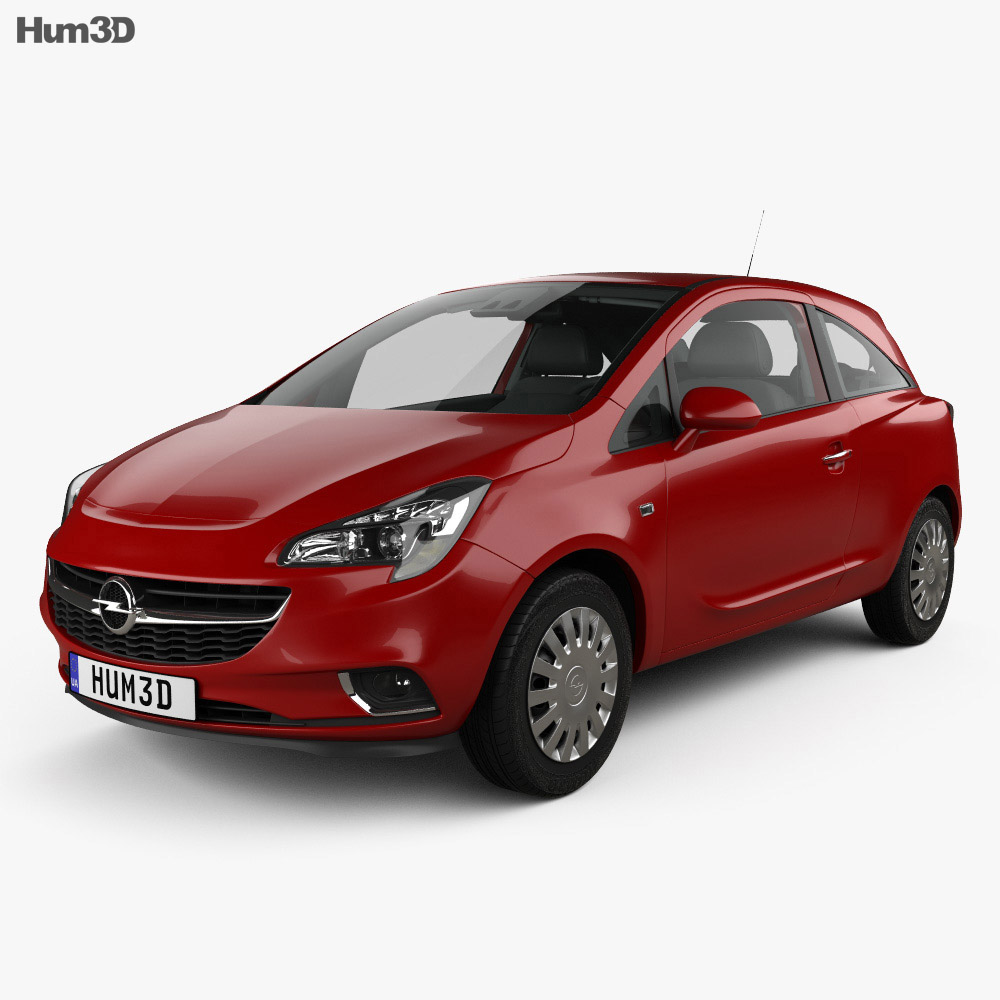 Opel Corsa (E) 3-door with HQ interior 2014 3d model