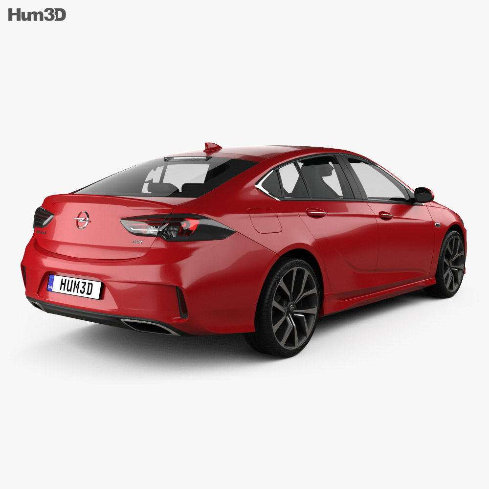 Opel Insignia GSi with HQ interior 2017 3d model back view