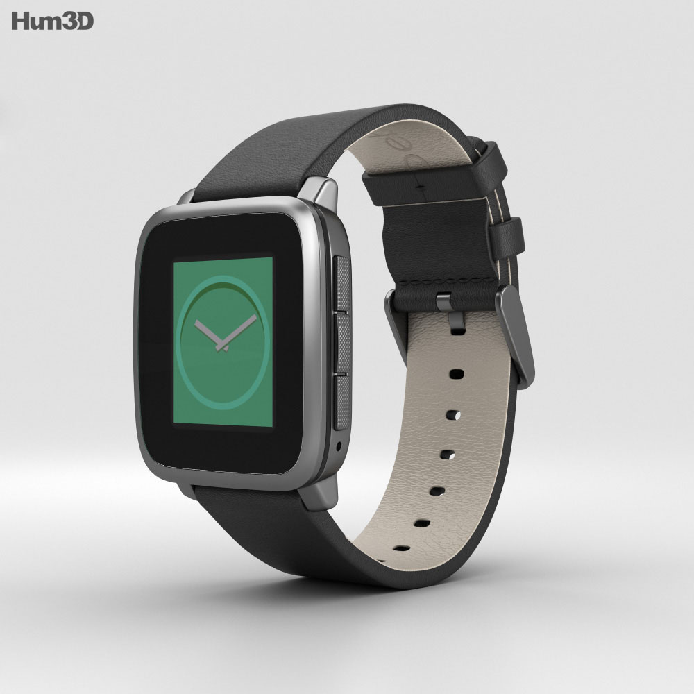 Pebble Time Steel Gunmetal Black 3d model