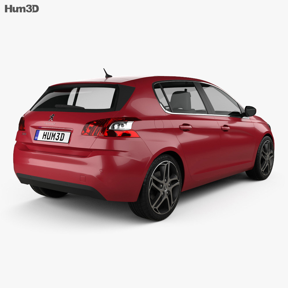 Peugeot 308 2014 3d model back view