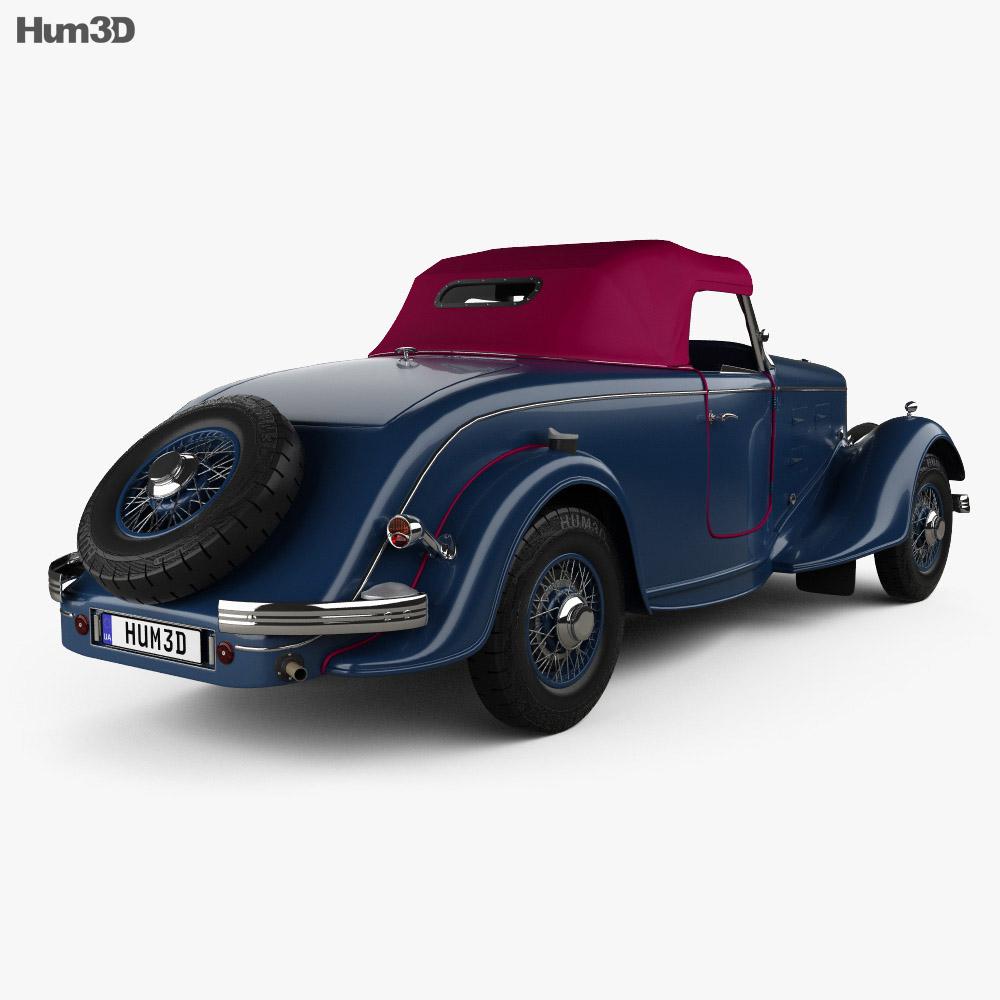 Peugeot 601 Roadster 1934 3D模型 后视图