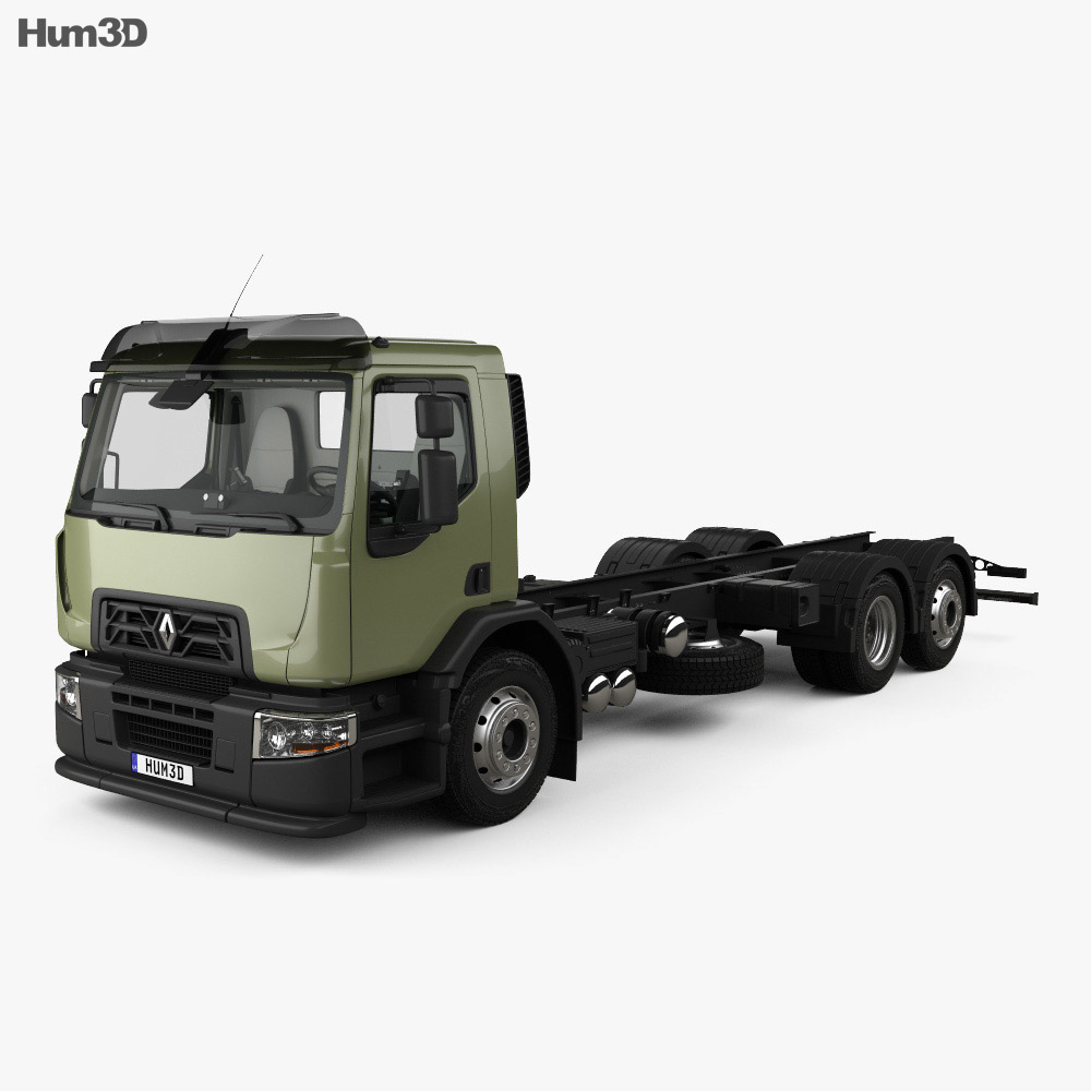 Renault D Wide Chassis Truck 3-axis with HQ interior 2013 3d model