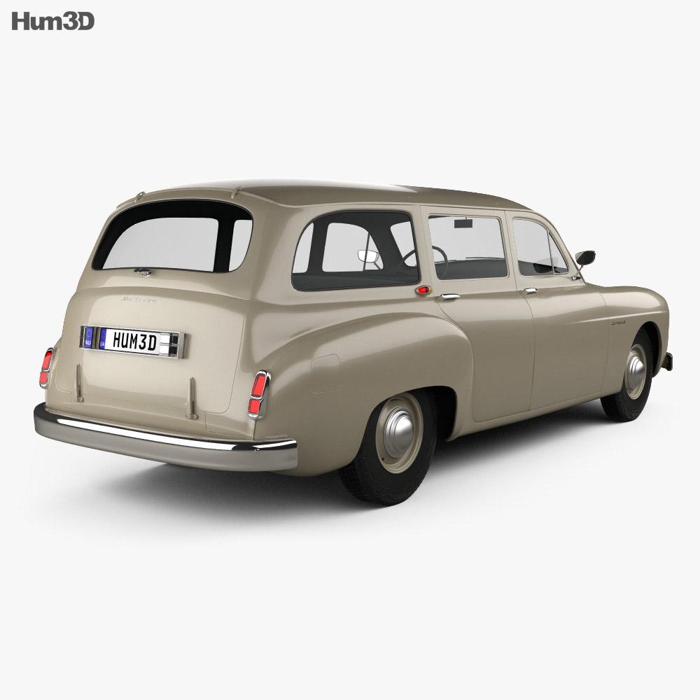 Renault Fregate wagon 1956 3d model back view