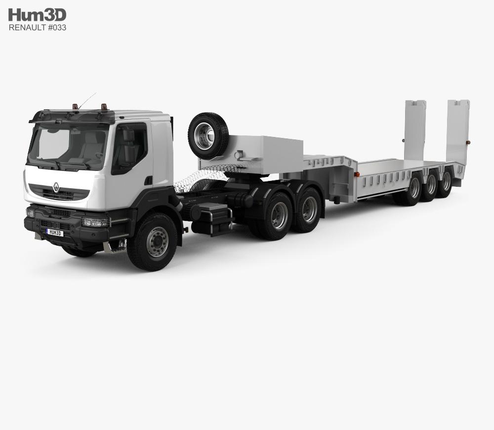 Renault Kerax Tractor Platform Trailer 2011 3d model
