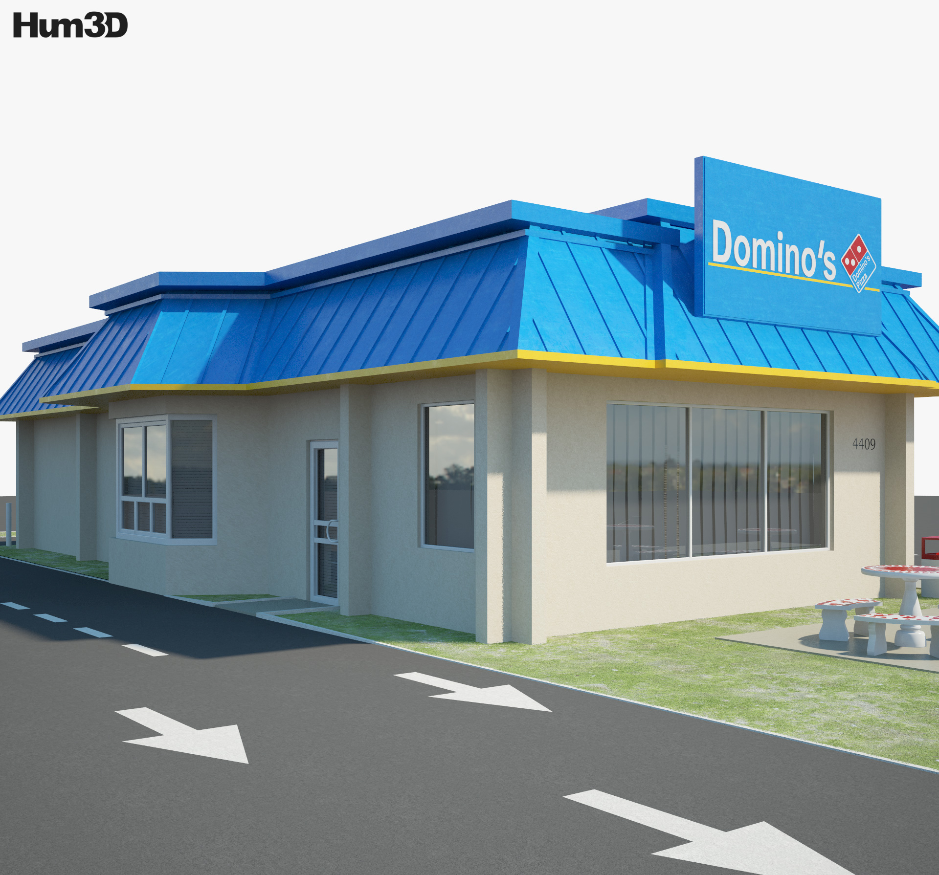 Domino's Pizza Restaurant 03 3d model