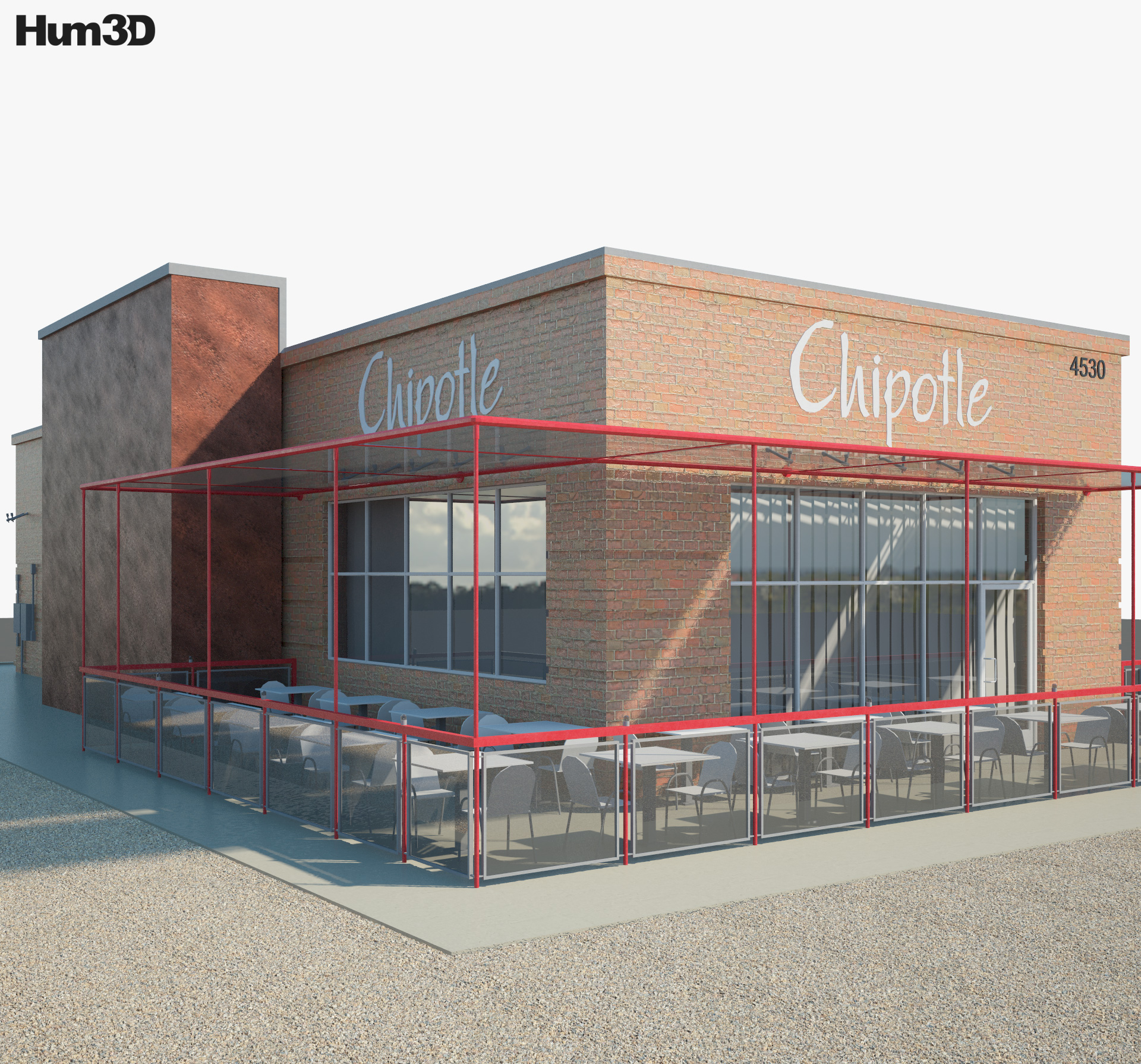Chipotle Mexican Grill Restaurant 01 3d model
