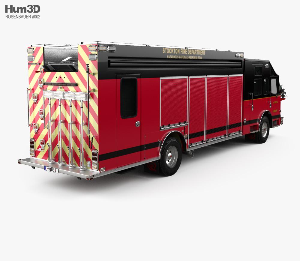 Rosenbauer Command Walk-In Rescue Fire Truck with HQ interior 2017 3d model