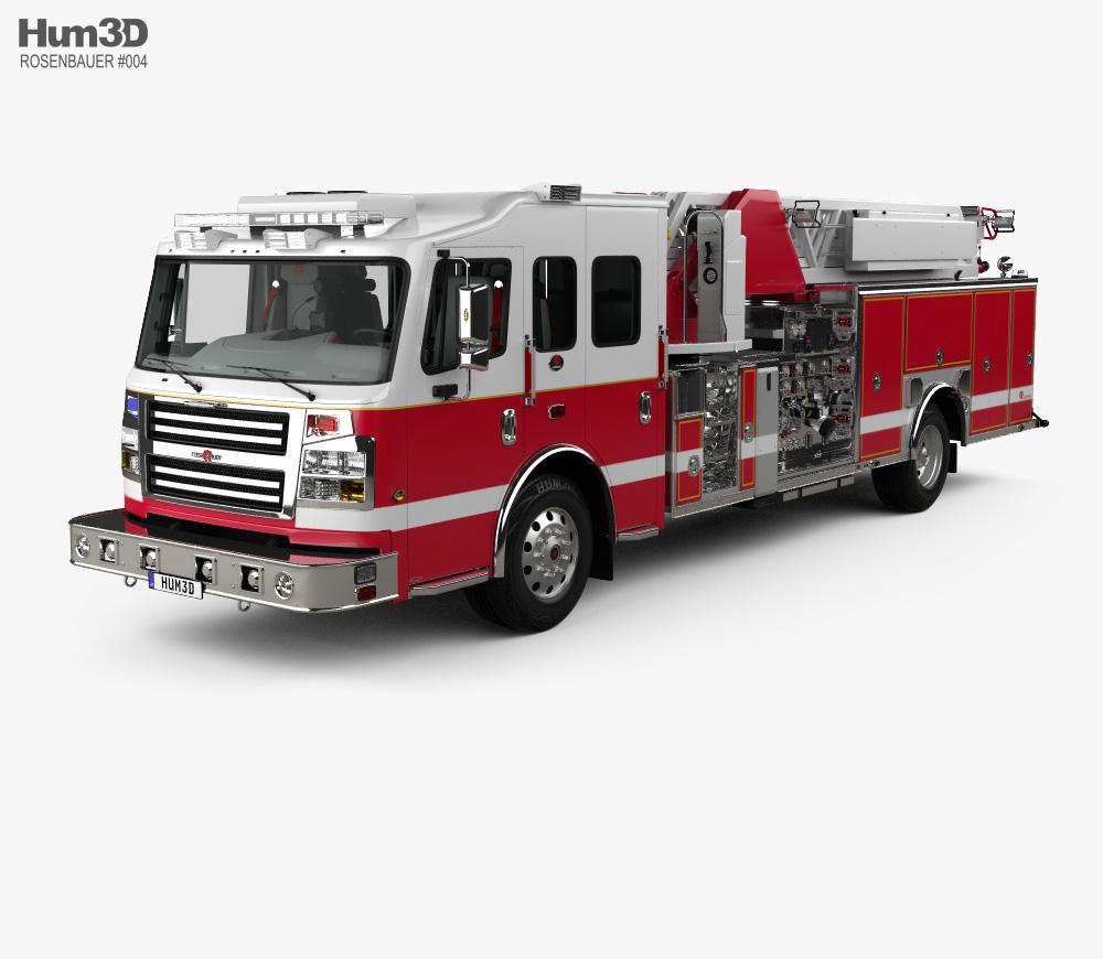 Rosenbauer IA 75 Viper Straight Stick Ladder Fire Truck with HQ interior 2017 3d model