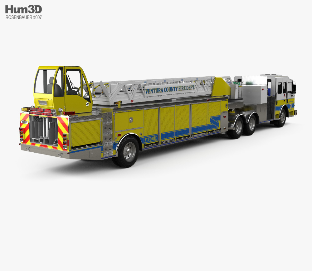 Rosenbauer Tractor Drawn Aerial Fire Truck with Trailer 2017 3d model