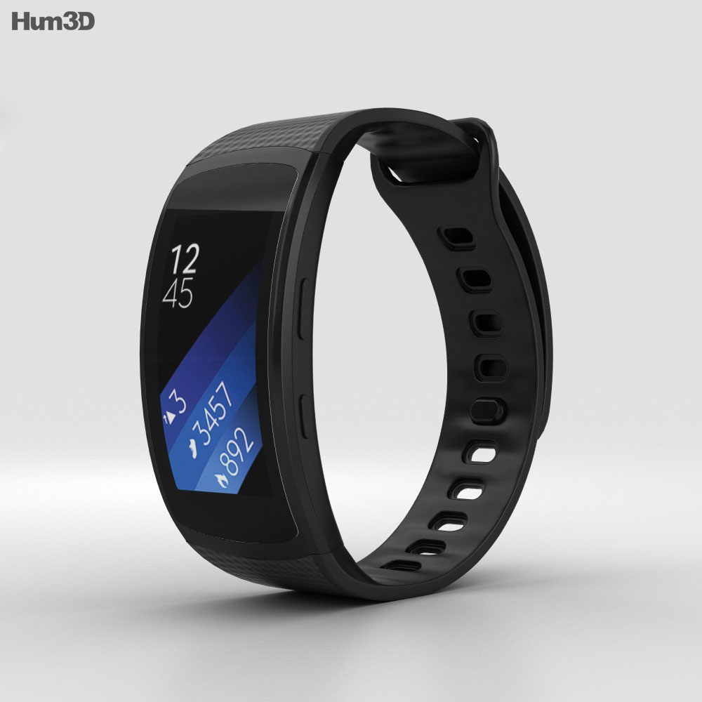Samsung Gear Fit 2 Black 3d model