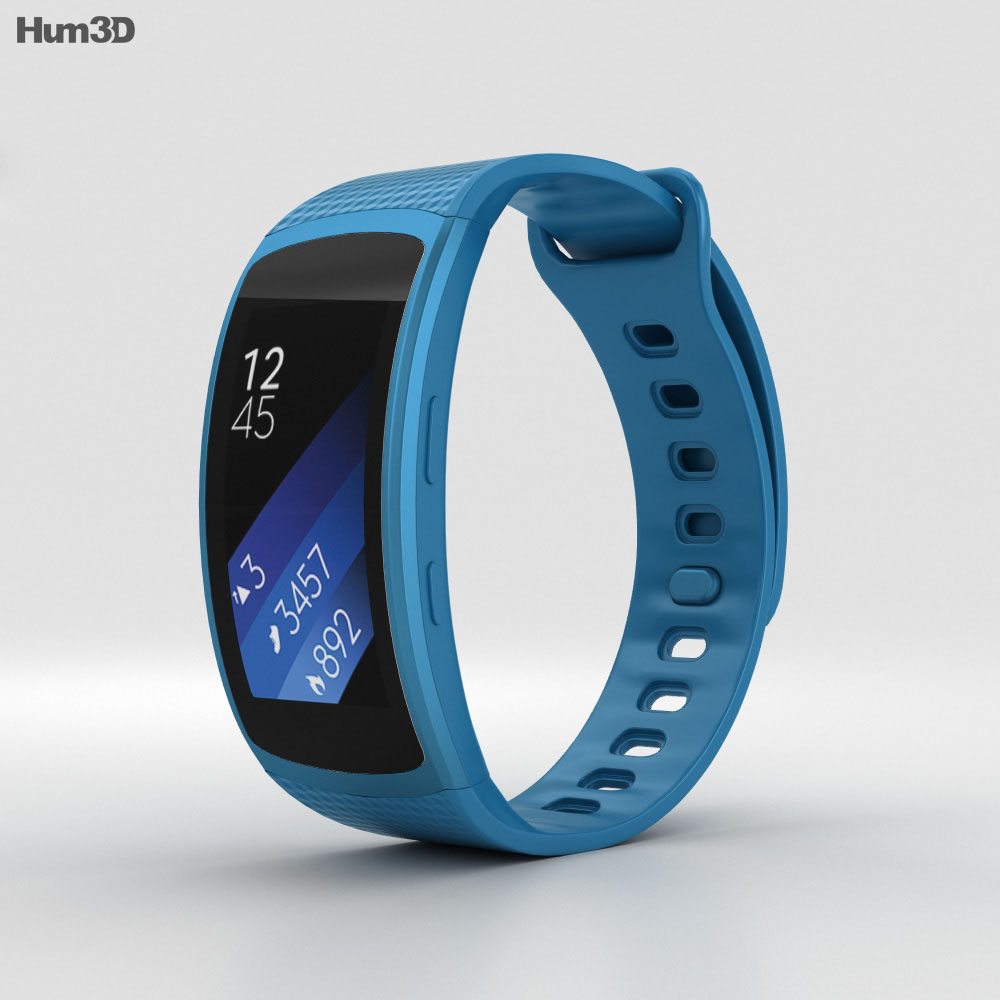 Samsung Gear Fit 2 Blue 3d model