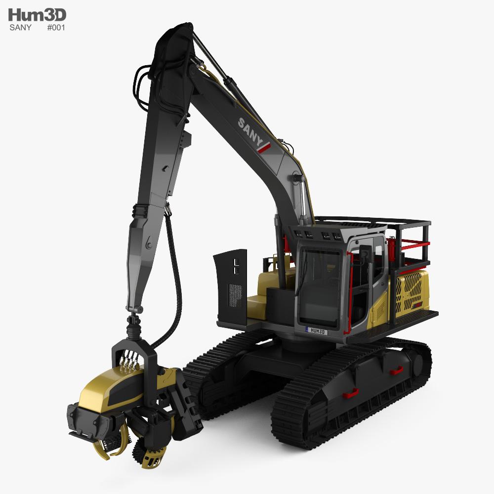 Sany 215 Ponsse H8 harvester 2020 3d model