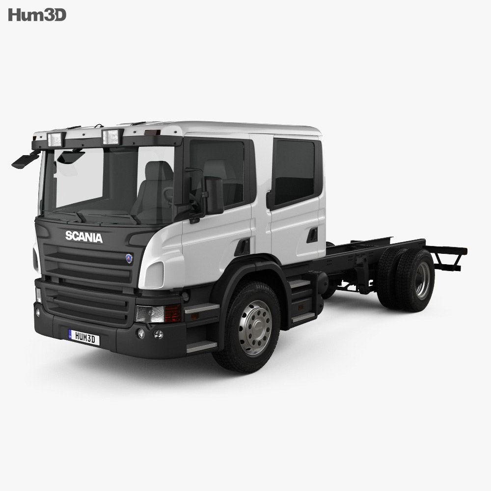 Scania P310 Crew Cab Chassis Truck 2005 3d model