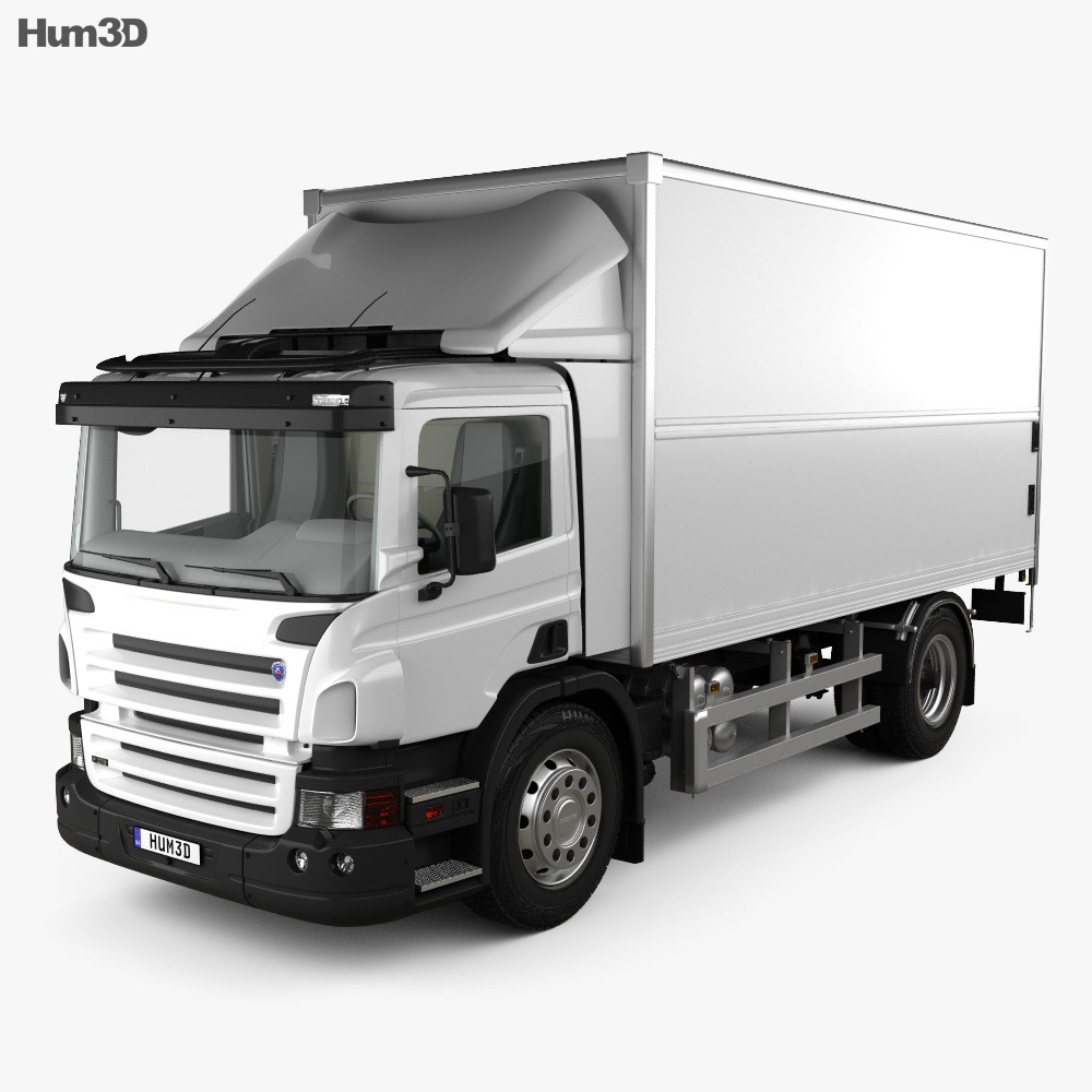 Scania P Box Truck with HQ interior 2011 3d model