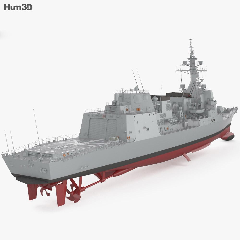 Akizuki-class destroyer 3d model