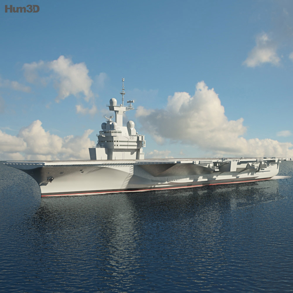 Charles de Gaulle aircraft carrier 3d model