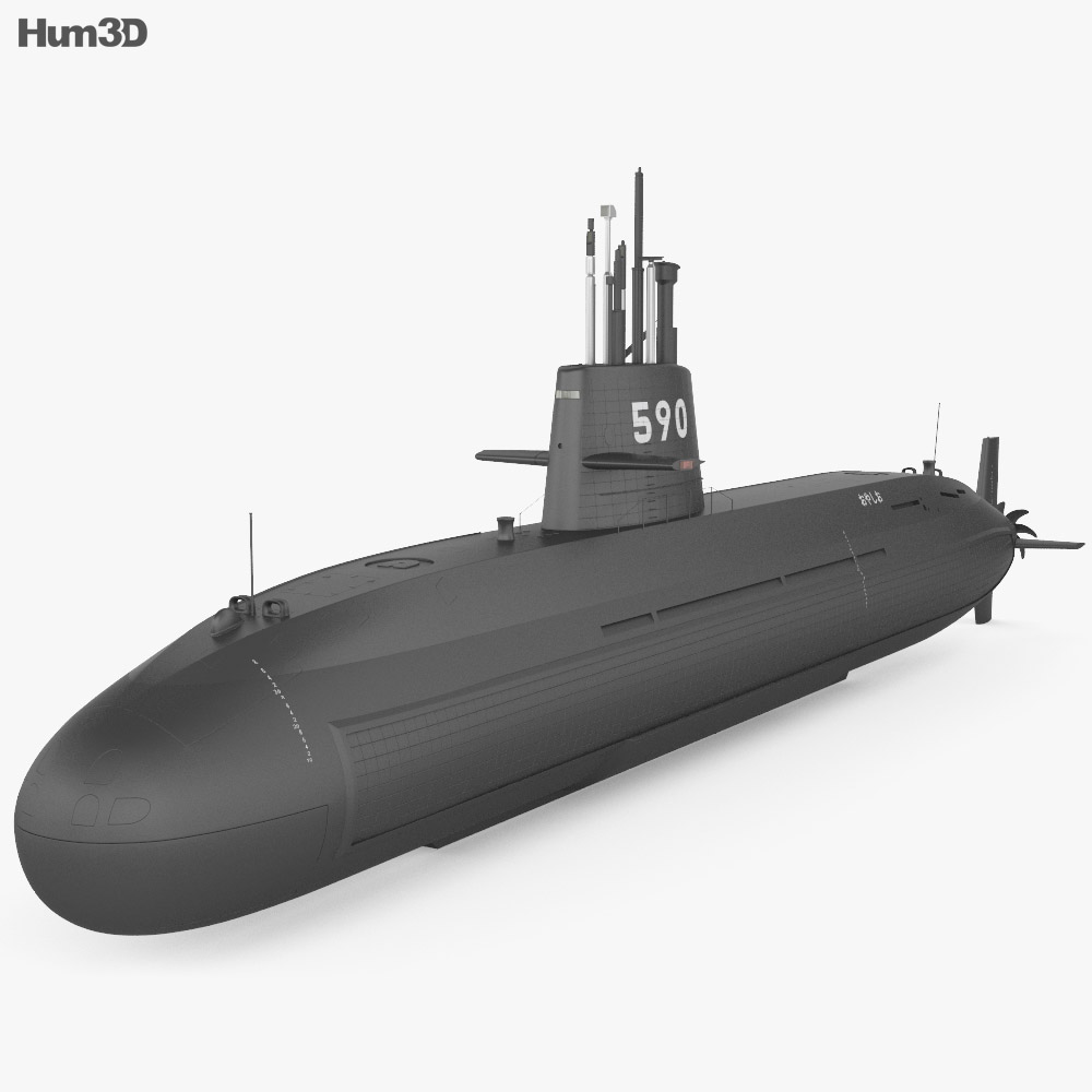 Oyashio-class submarine 3d model