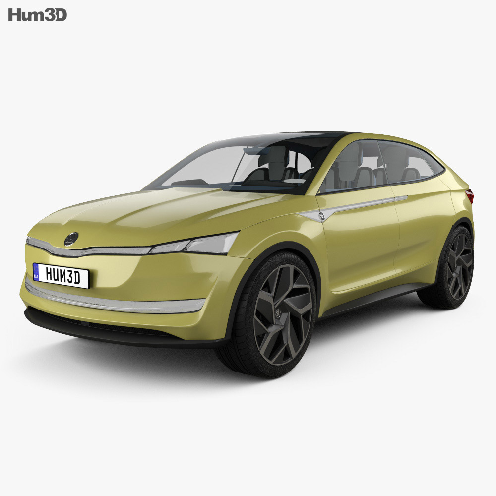 Skoda Vision E with HQ interior 2017 3d model