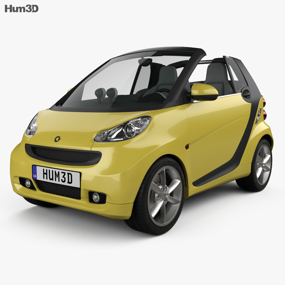 Smart Fortwo 2011 Convertible Open Top 3d model