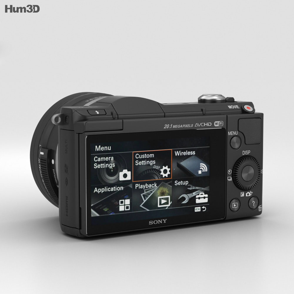 Sony Alpha A5000 Black 3d Model Humster3d